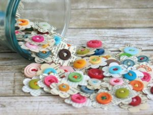 Handmade Paper Flowers with Button Embellishments