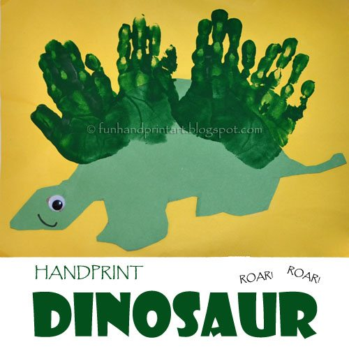 Super Easy Dinosaur Craft for Kids from Simple Handprints