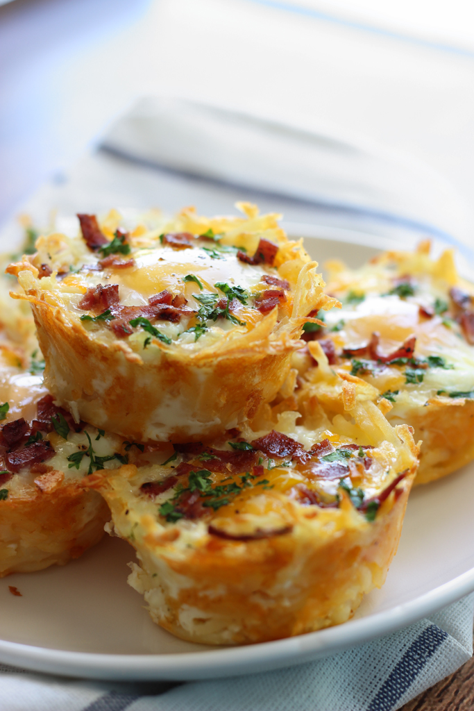 Hash Brown Egg Nests with Avocado for Valentines Day Breakfast