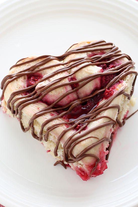 Heart Shaped Raspberry Rolls – Valentines Day Food Ideas