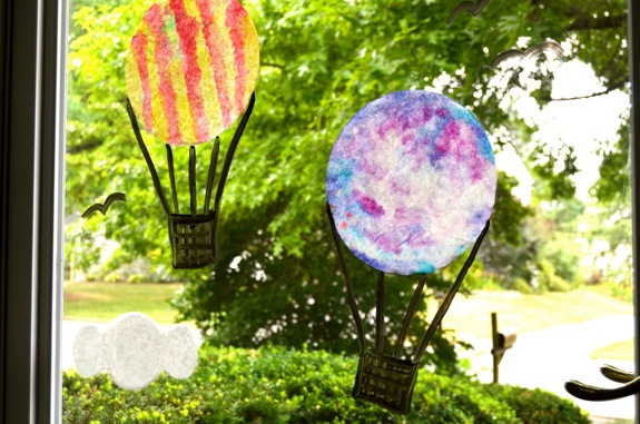 DIY Coffee Filter Kids Craft- Hot Air Balloon Window Display