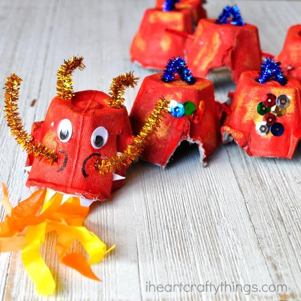 Amazing Egg Carton Dragon Craft with Gorgeous Adornment