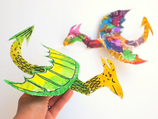 Colorful Paper Plate Dragons
