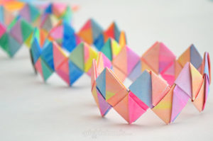 Colorful Origami Paper Craft: Folded Paper Bracelet