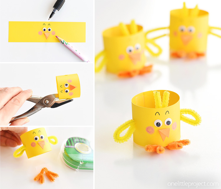 Paper Roll Chicks for Easter Decoration