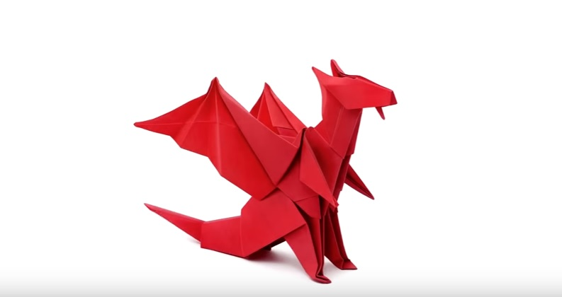 Learn to Make Wonderful Origami Paper Craft Red Dragon