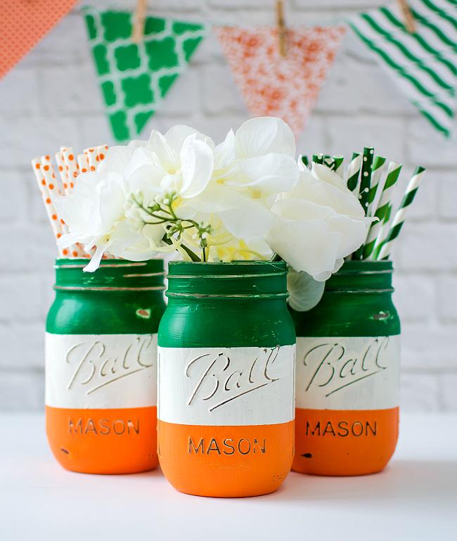 DIY 2 MInutes Mason Jar Craft with Irish Flag Paint as Catchy Centerpiece