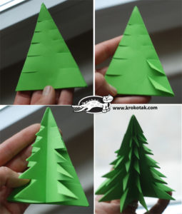 DIY Christmas Paper Crafts: DIY Fold Fir Tree Paper Craft Christmas Decor