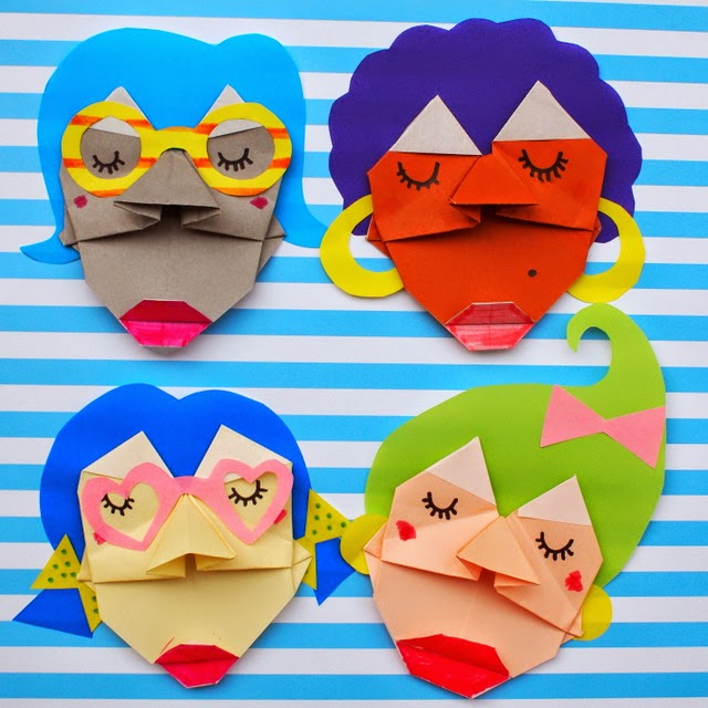 DIY Origami Faces with Folded Crafting Sheets