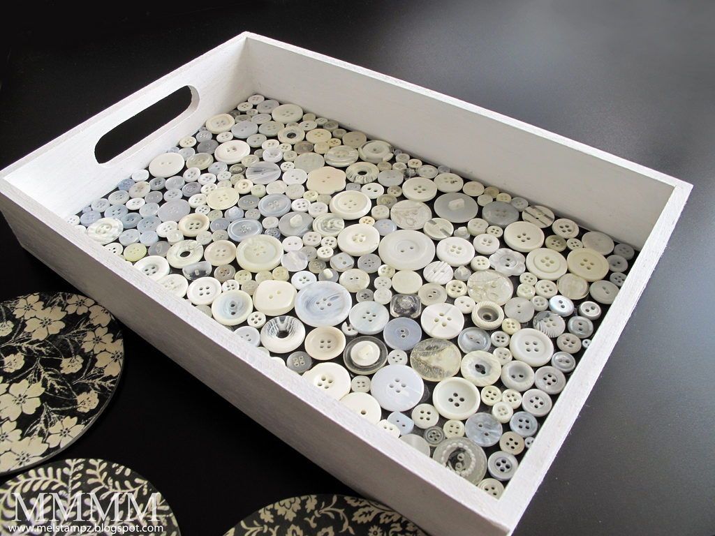 Totally Unique Button Tray in Classy White Wooden Structure