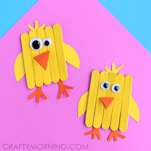 Plain Popsickle Stick Chicks as DIY Easter Craft