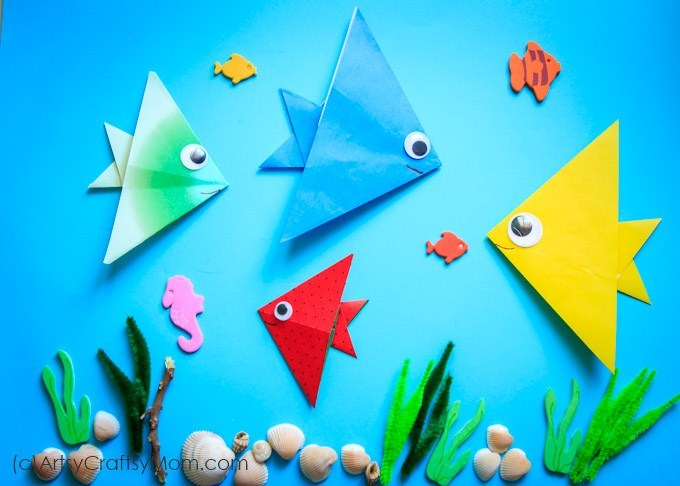 Origami Paper Fish Clan With Underwater View Truly Hand