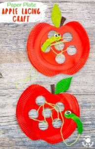 Paper Plate Apple Lacing Craft -Kids and Toddlers Activities