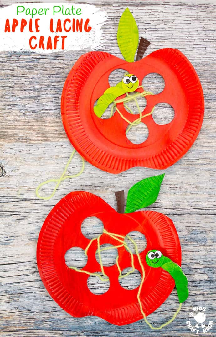 Paper Plate Apple Lacing Craft Kids And Toddlers Activities Truly