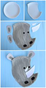 kids Animal Crafts: Paper Plate Rhino Craft for Kids