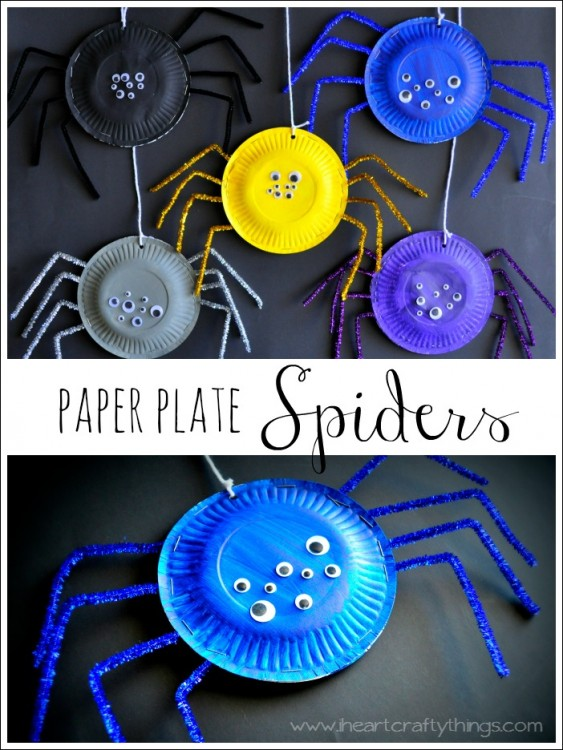 Scary Paper Plate Spiders