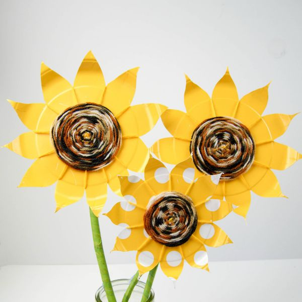 Paper Plate Sunflower Weaving
