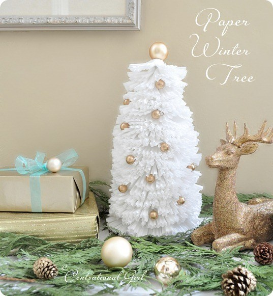 All White Coffee Filter Winter Tree with Gorgeous Ornaments