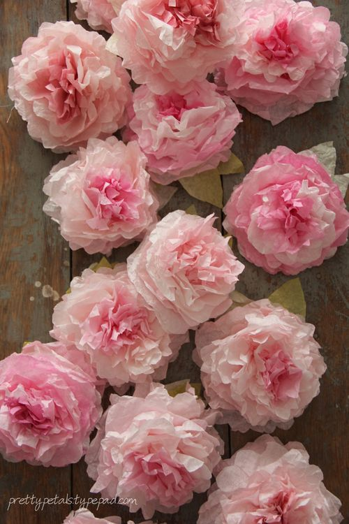 Bunches of Coffee Filter Peonies in Subtle Pink Shade