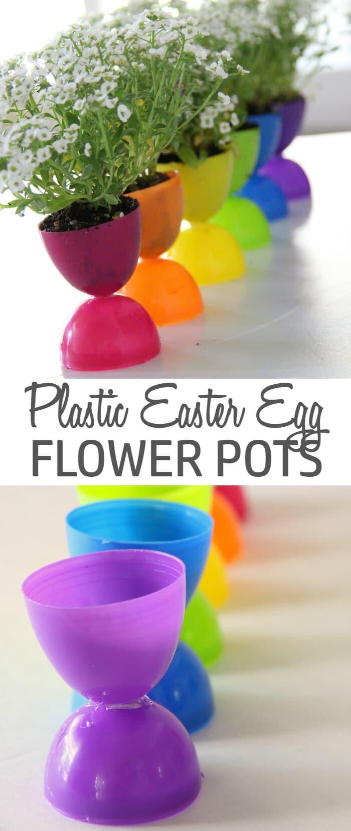 Plastic Easter Egg Flower Pot for Easter Decoration