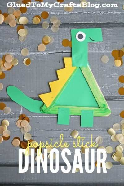 Adorable Popsicle Sticks Cartoon Dinosaur Craft for the Beginners