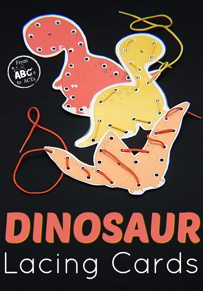 Simple and Colorful Dinosaur Lacing Card Project