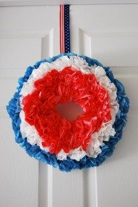 DIY Patriotic Wreath from Red, White, and Blue Coffee Filter