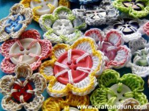 Yarn-Button Flower Craft in Different Rich Shades
