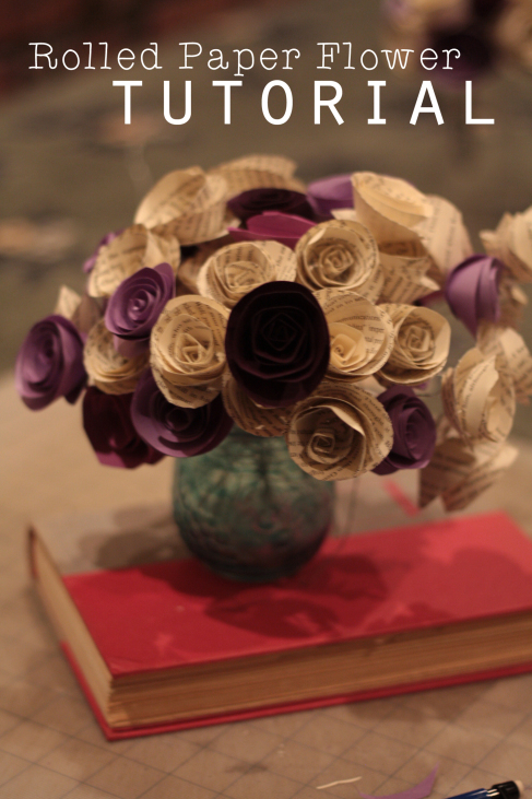 Rolled Paper Flower Bouquet with Book Pages