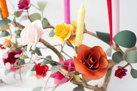 Wonderful Paper Craft Centerpiece: Rose Branch Candlebra