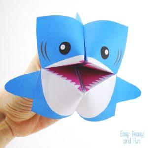 Origami Paper Craft for Kids: DIY Shark Cootie Catcher
