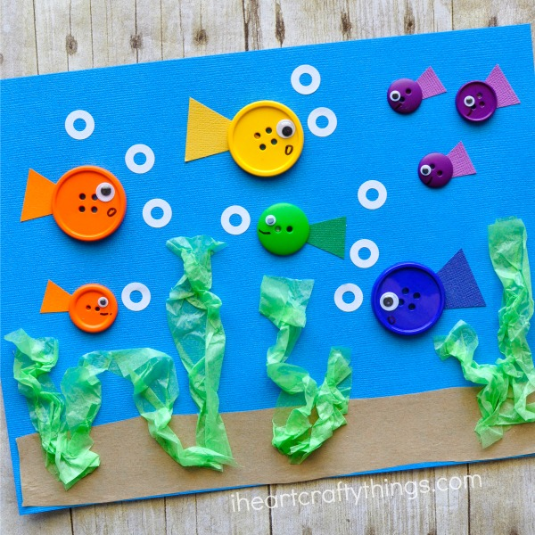Simple Button Fish Craft with a Cute Underwater View