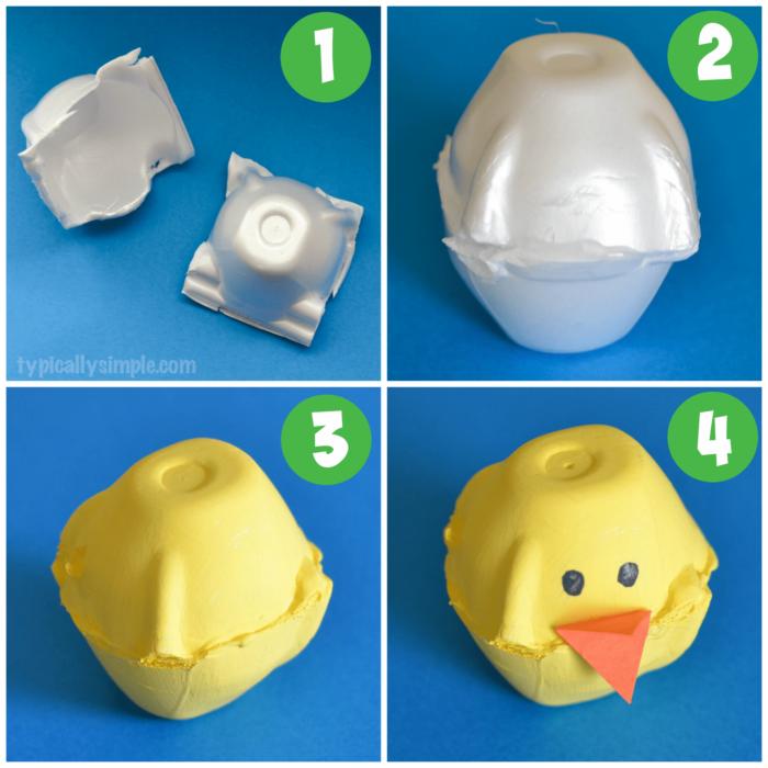 DIY Easter Craft Egg Carton Chicks Idea for Kids