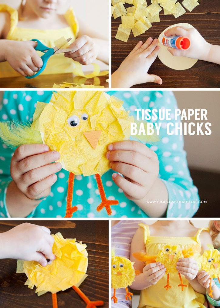 Tissue Paper Baby Chick Easter Craft Idea for Kids