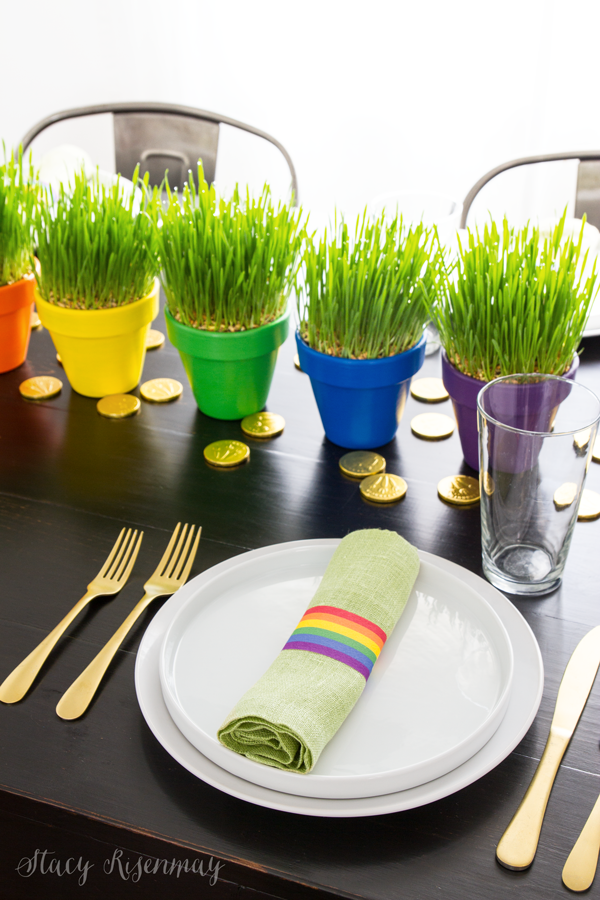 Attractive Terracotta Clay Planter as Centerpiece with Catchy Rainbow Paints