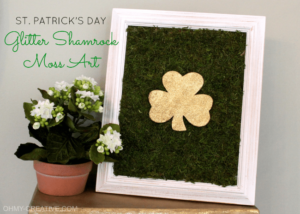DIY Shamrock Framed Moss Art with Glittery Flaunt