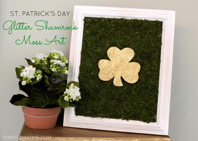 DIY Shamrock Framed Moss Art with Glittery Flaunt