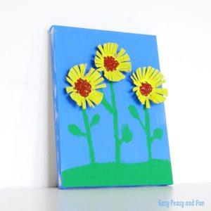 Egg Carton Sunflowers: 3D canvas Wall Art