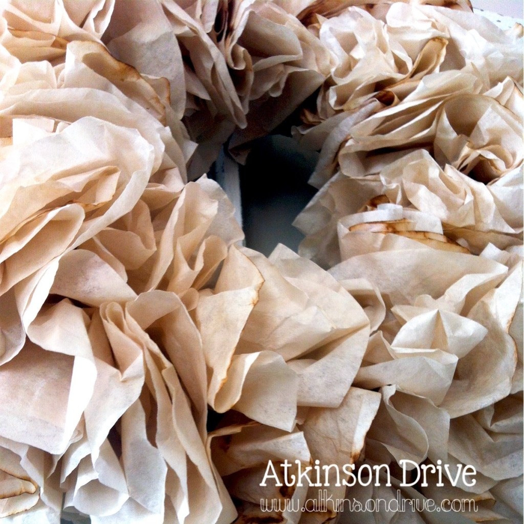 DIY Wreath from Tea Stained Coffee Filter