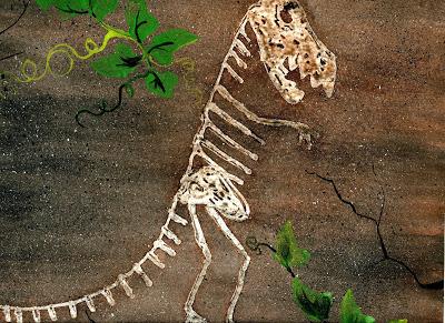 Glue Resist Dinosaur Skeleton on Posterborad