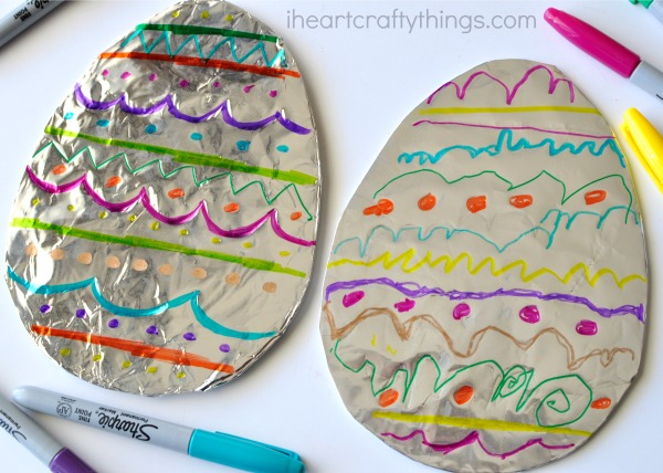 Tin Foil Easter Egg Craft with Cute Color Decor for Kids