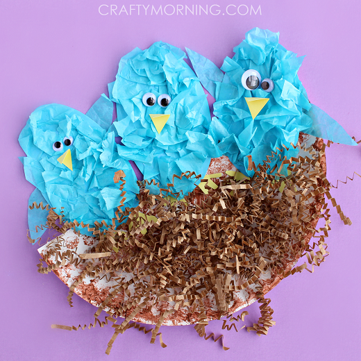Creative Paper Plate Nest with Tissue Paper Birds