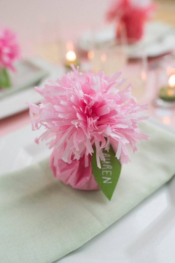 DIY Paper Craft: Tissue Paper Carnation Place Cards