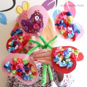 Toddler Craft ideas Valentines Heart Bouquet