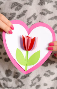 Tulip in a Heart Card – Easy Valentines Day Craft Cards