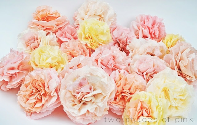 DIY Coffee Filter Flowers with Two Different Shades of Pink