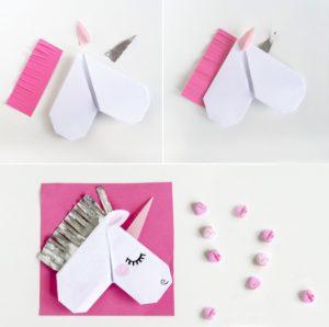 DIY Valentines Day Card Idea: Pretty Origami Unicorn