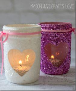 Valentine Glitter Votives – Mason Jar Crafts Crafts