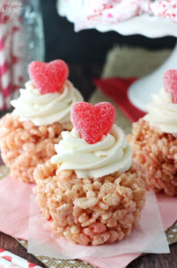 Valentines Day Hearts and Rice Krispie Treat Cupcakes