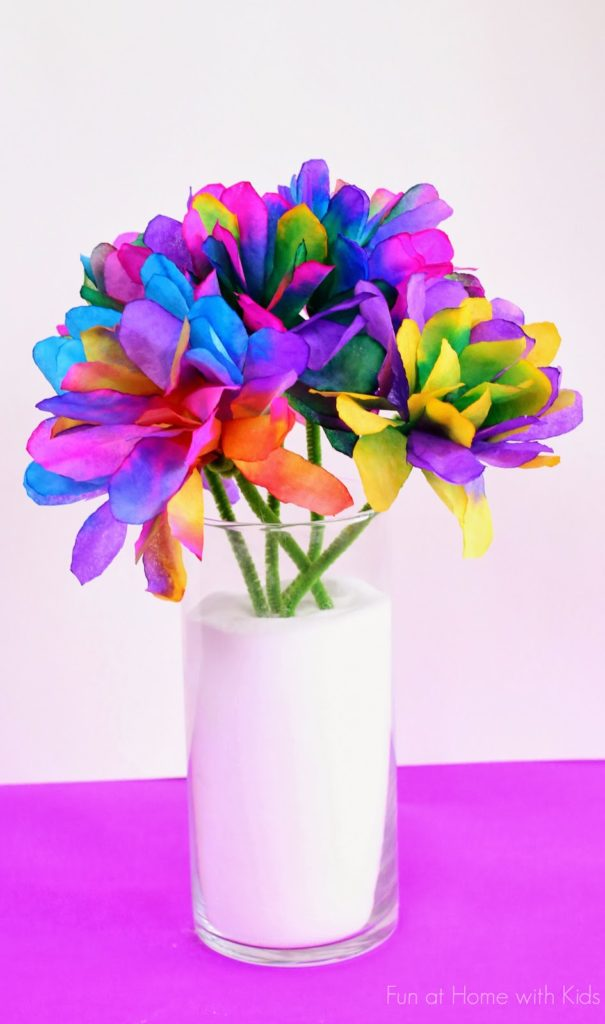 Pretty Coffee Filter Flower Bouquet with Vibrant Colors